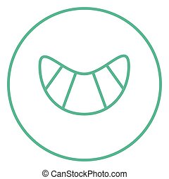 Croissant line icon. - Croissant thick line icon with...