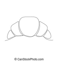 Croissant linear icon. Food continuous one line art vector ...