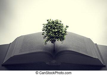 croissant, livre ouvert, arbre