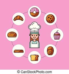croissant, pék, betű, cupcake, fánk, torta, leány, bread