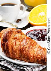croissant, pequeno almoço, café