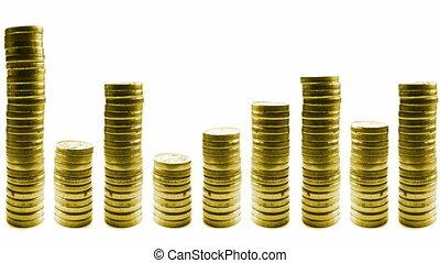 croissant, pièces, réduire, piles