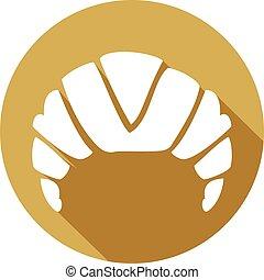 croissant, plat, icône