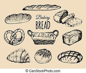 croissant, produits, basket., signs., osier, set., illustration, bagel, loafs, boulangerie, pain, patisserie, main, dessiné, etc, collection.