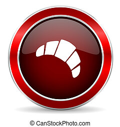 croissant red circle glossy web icon, round button with metallic border