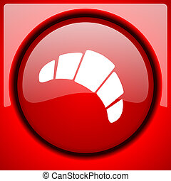 croissant red icon plastic glossy button