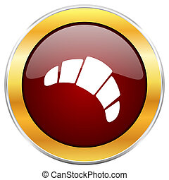 Croissant red web icon with golden border isolated on white background. Round glossy button.