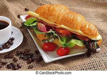Croissant sandwich.
