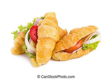 croissant sandwich ham on white background