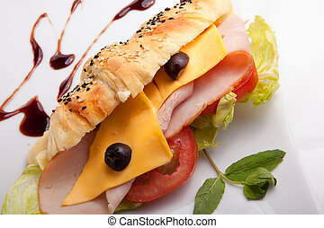 Croissant sandwich Luncheon with cheese and crisps with ...