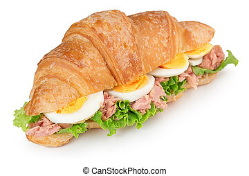 croissant sandwich with egg and tuna