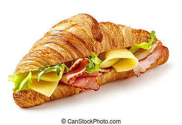 croissant sandwich with ham and cheese