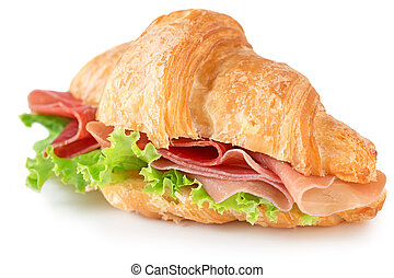 croissant sandwich with parma ham - croissant with parma ham...