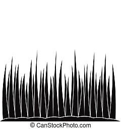 croissant, simple, herbe, noir, icône