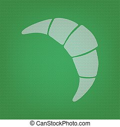 Croissant simple sign. white icon on the green knitwear or woolen cloth texture.
