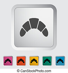 Croissant. Single flat icon on the button. Vector ...