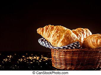 croissant, sommet, frais, panier, table, pain