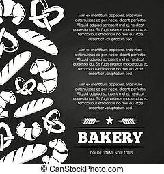 croissant, tableau noir, -, boulangerie, conception, tableau, fond, affiche, pain