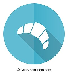 Croissant vector icon, flat design blue round web button isolated on white background