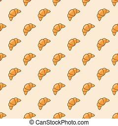croissant, vetorial, padrão, fundo, seamless