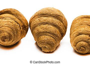 croissant, vrijstaand, baking., achtergrond., fris, thuis, witte