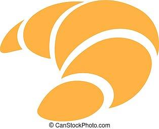 croissant, vrijstaand, illustratie, vector, achtergrond, sinaasappel, witte , pictogram