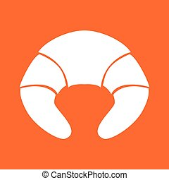 Croissant white color icon .