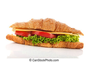 Croissant with cheese and vegetables