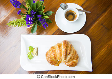 croissant with espresso coffee
