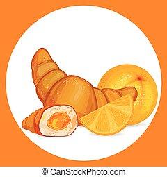 Croissant with orange icon.