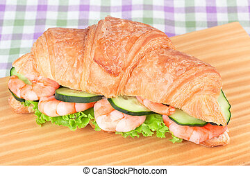 croissant with shrimp salad