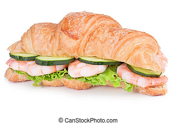 croissant with shrimps, cucumber and lettuce