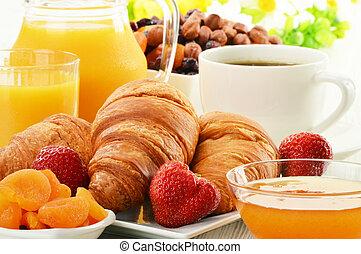 croissants, 咖啡, 水果, 早餐, 杯子