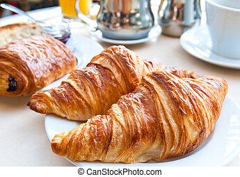 croissants, 早餐, 咖啡