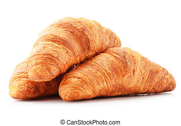 croissants, 白色, 被隔离, 背景, 新鮮