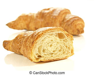 Croissants, isolated, close-up