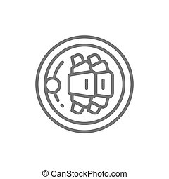 Croissants on plate, french breakfast line icon.