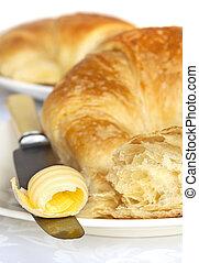 croissants, s, máslo