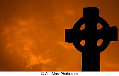 croix, à, nuages coucher soleil