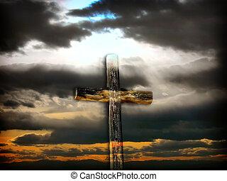 croix, accidenté, baigné, lumière soleil