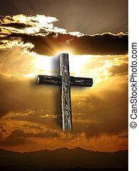 croix, accidenté, résurrection, ciel