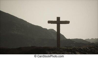 croix, bois, crucifix, montagne