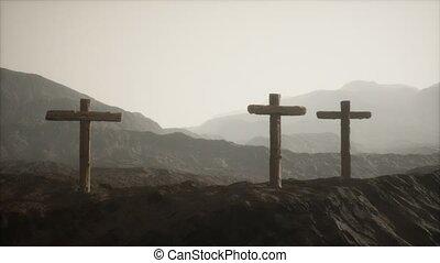 croix, bois, montagne, crucifix