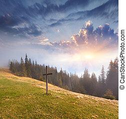 croix catholique, sur, a, mountaintop