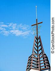 croix, contre, bleu, sky.