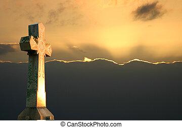 croix, coucher soleil