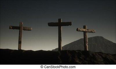 croix, crucifix, montagne, bois