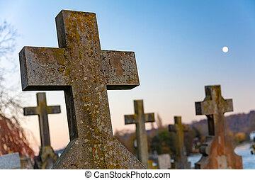 croix, crucifix, pierres tombales, cimetière, église