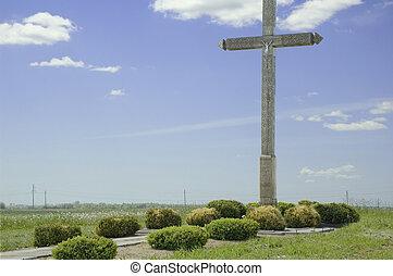 croix, dans, les, champ