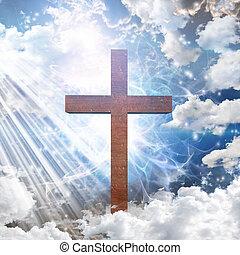 croix, dans, lumière